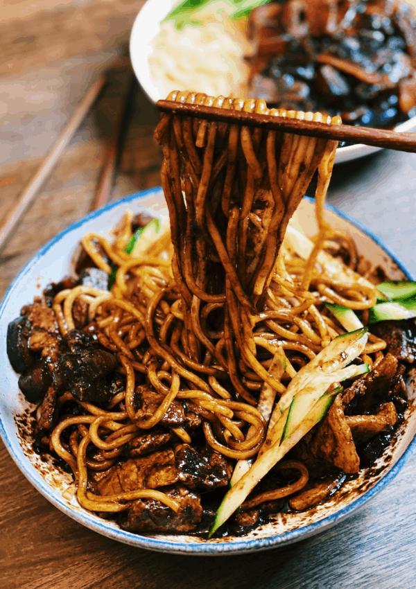 Jajangmyeon Noodles (Korean Noodles in Black Bean Paste)