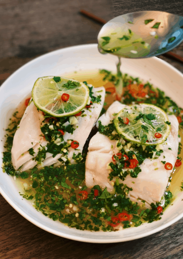 Thai Steamed Fish with Lime and Garlic