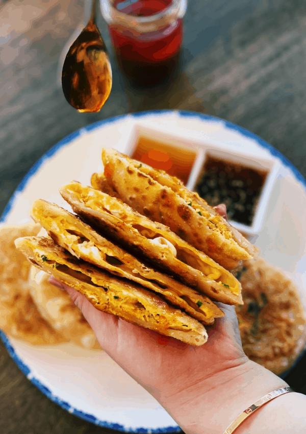 Crispy Egg Filled Pancakes