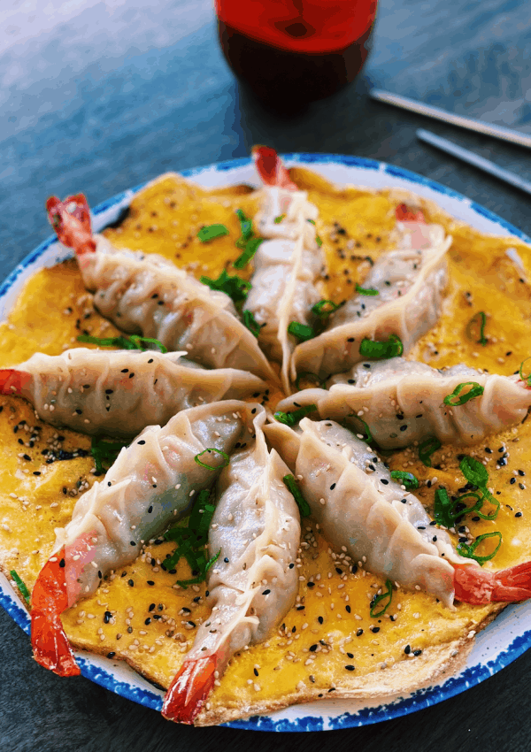 Whole Shrimp Potsticker with fluffy Egg Skirt (VIRAL!)